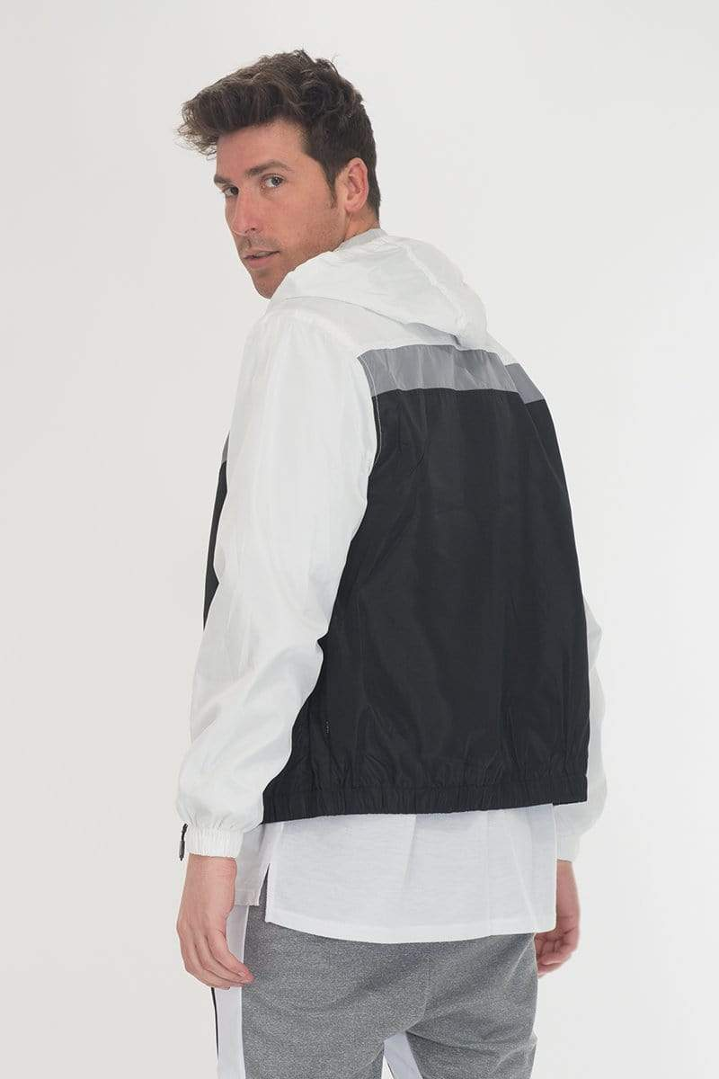 Nylon Track Jacket - White/ Black - MEN ACTIVEWEAR - NIGEL MARK