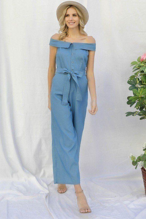 Off-shoulder Denim Jumpsuit - Light Denim - JUMPSUITS & ROMPERS - NIGEL MARK