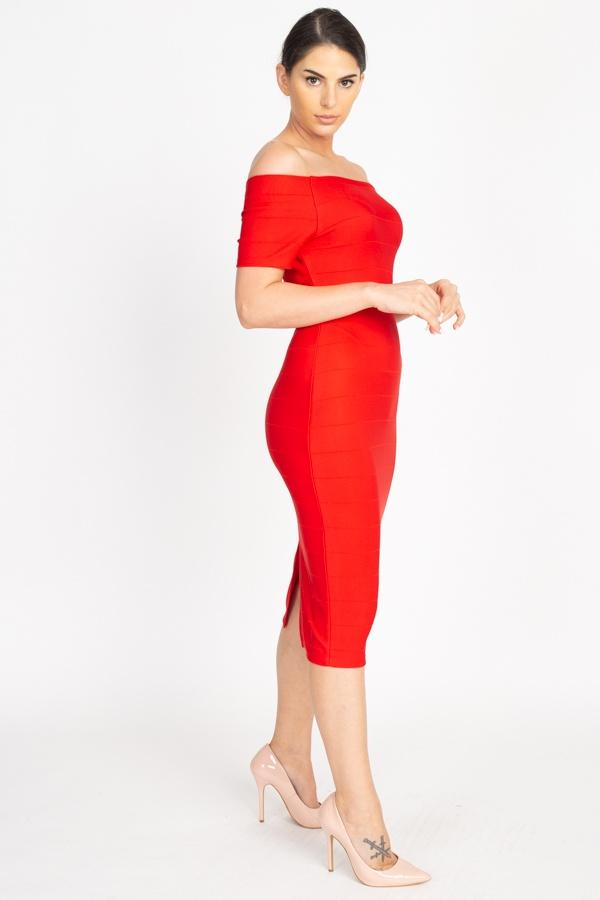 Off The Shoulder Bandage Dress - Red Orange - DRESSES - NIGEL MARK