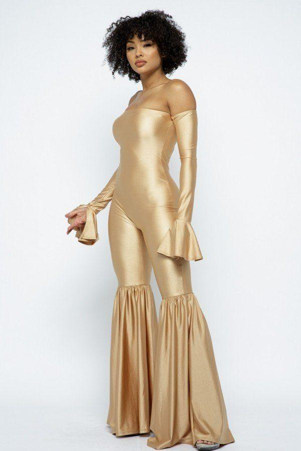 Off The Shoulder Flare Jumpsuit - Champagne Gold - JUMPSUITS - NIGEL MARK