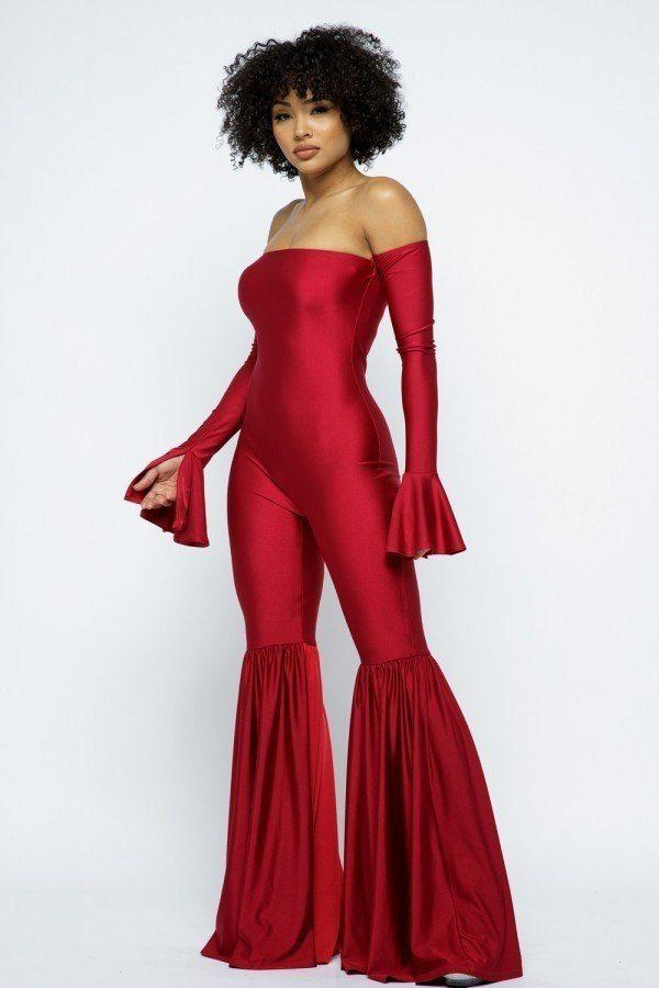 Off The Shoulder Flare Jumpsuit - Red - JUMPSUITS - NIGEL MARK