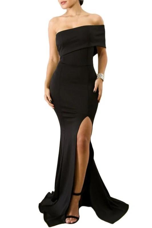 Off The Shoulder Slit Dress - Black - DRESSES - NIGEL MARK