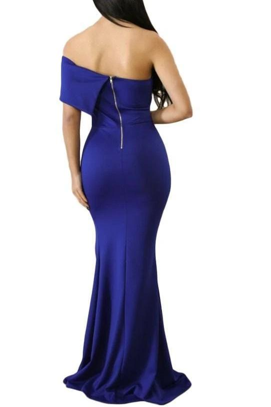 Off The Shoulder Slit Dress - Blue - DRESSES - NIGEL MARK