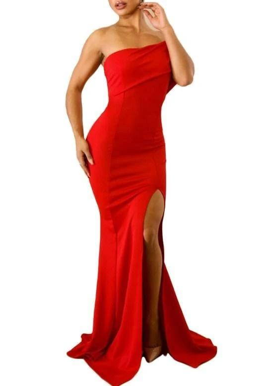 Off The Shoulder Slit Dress - Red - DRESSES - NIGEL MARK