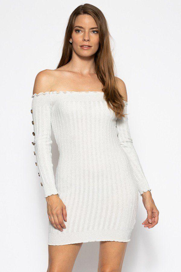 Off The Shoulder Sweater Dress - Silver - DRESSES - NIGEL MARK