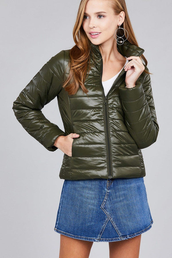 Olive Long Sleeve Quilted Puffer Jacket - Women's Clothing - NIGEL MARK