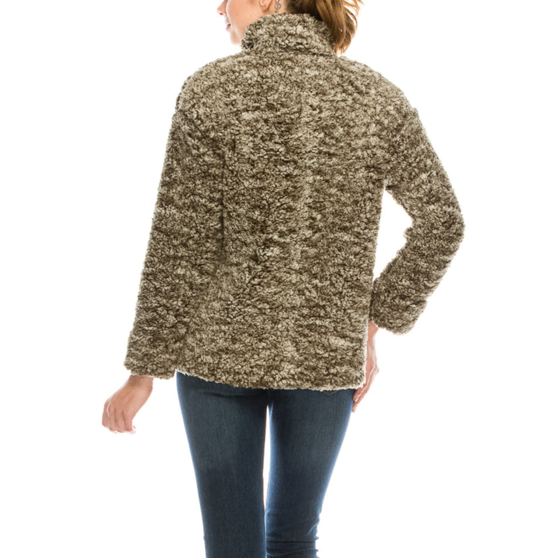 Olive Sherpa Quarter-Zip Pullover - Women's Clothing - NIGEL MARK