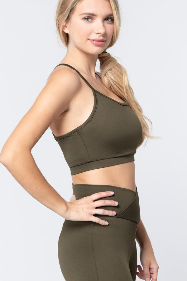 Olive Workout Cami Bra Top - ACTIVEWEAR - NIGEL MARK