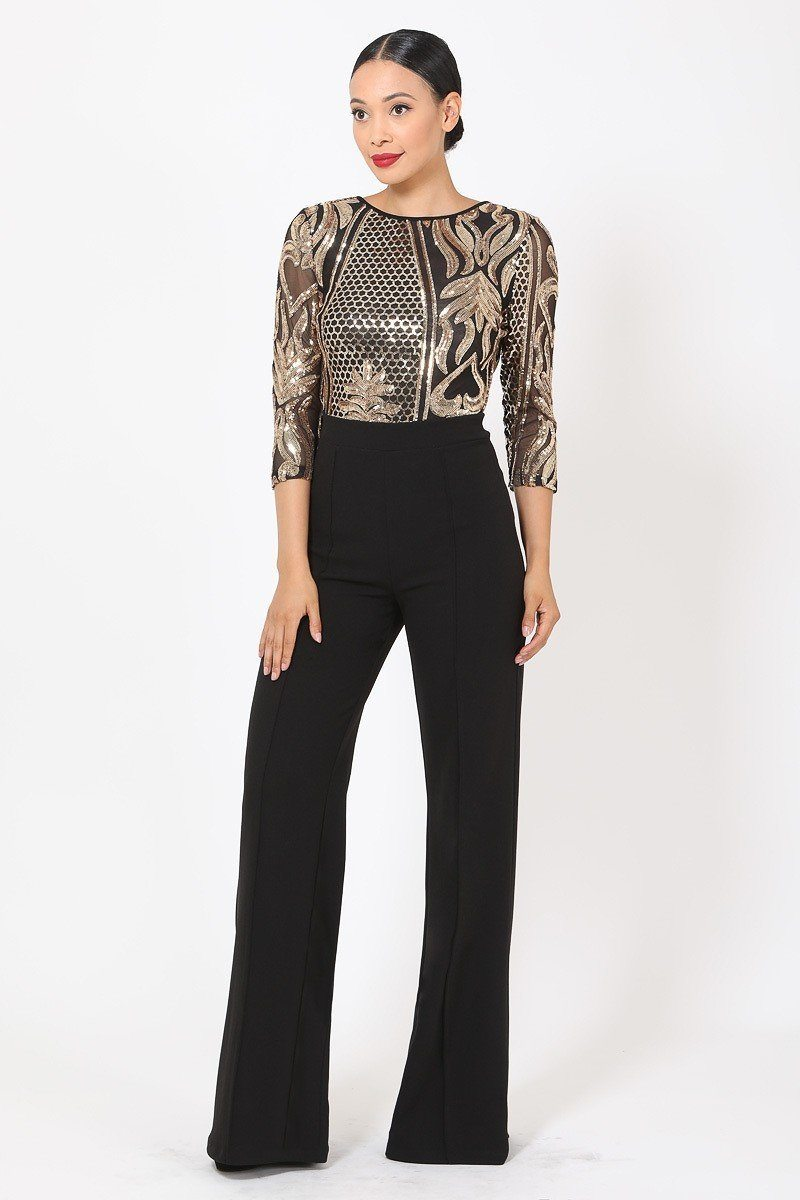 Open Back Gold Sequin Jumpsuit - Black - JUMPSUITS - NIGEL MARK