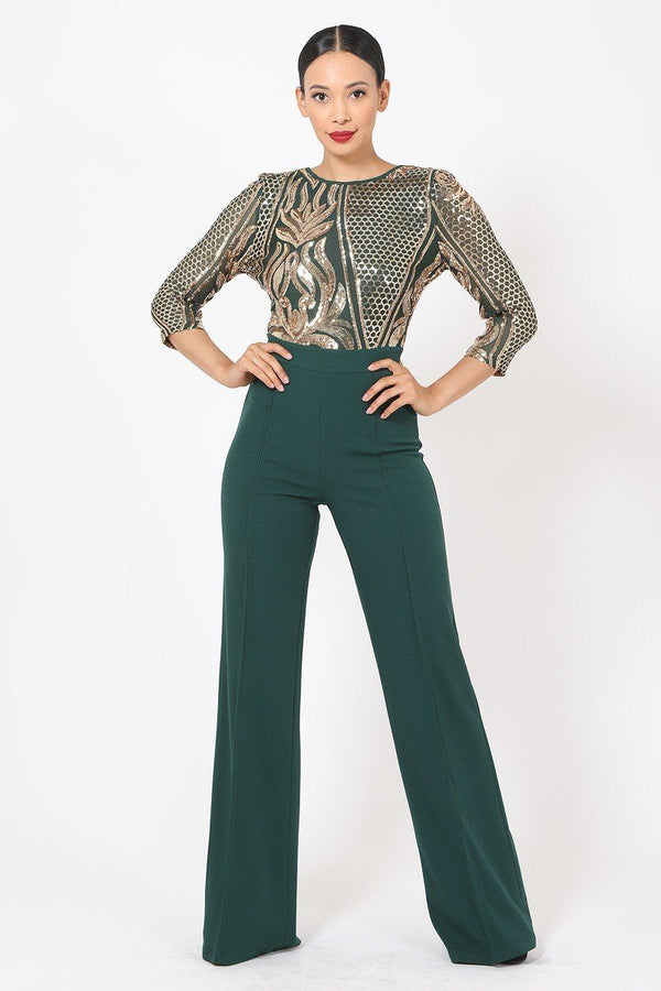 Open Back Gold Sequin Jumpsuit - Hunter Green - JUMPSUITS - NIGEL MARK
