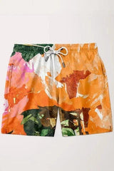 Orange Flower Shorts - MEN SHORTS - NIGEL MARK