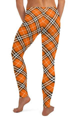 Orange Plaid leggings, Capris and Shorts - WOMEN BOTTOMS - NIGEL MARK
