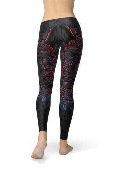 Oriental Black Wolf Leggings - WOMEN BOTTOMS - NIGEL MARK
