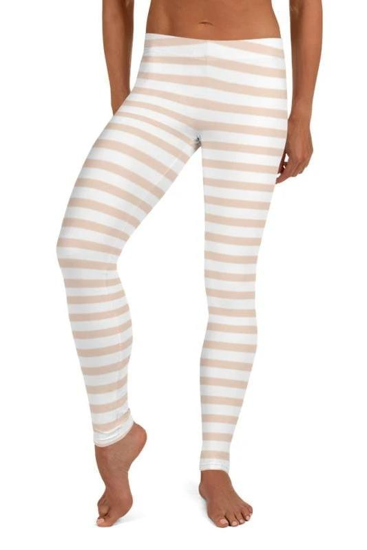 Pale Pink Striped Leggings, Capris, Shorts - WOMEN BOTTOMS - NIGEL MARK