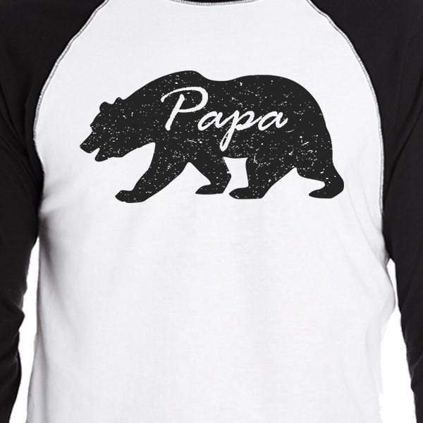 Papa Mama Baby Bears Mens Black And White Baseball - MEN TOPS - NIGEL MARK