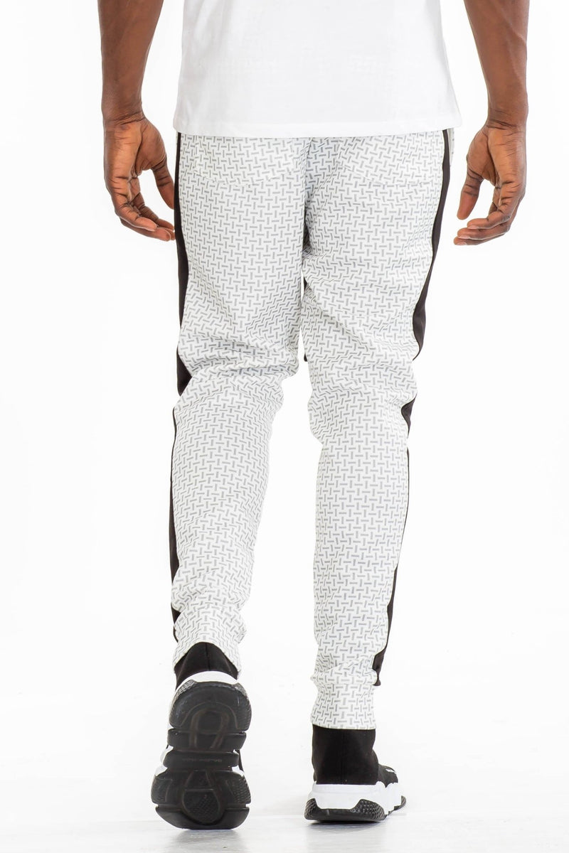 Patterned Track Pants - White - MEN BOTTOMS - NIGEL MARK