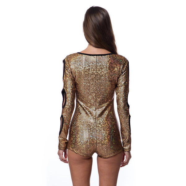 Peek-A-Boo Gold Romper - Women's Clothing - NIGEL MARK