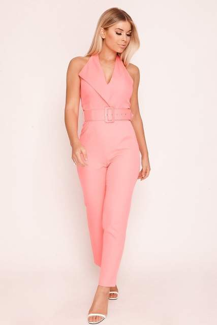 Pink Belted Blazer Jumpsuit - JUMPSUITS & ROMPERS - NIGEL MARK