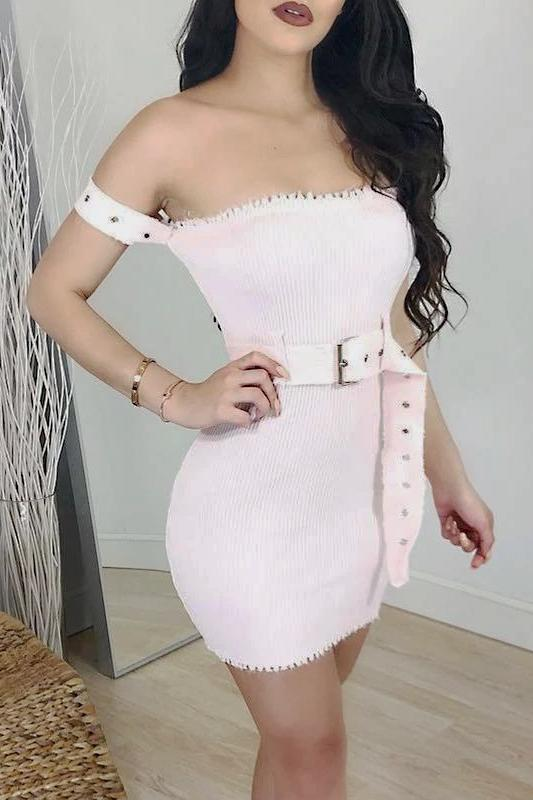 Pink Knitted Belted Dress - DRESSES - NIGEL MARK