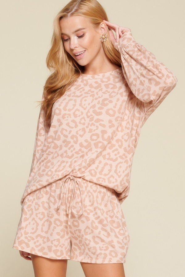 Pink Leopard Loungewear Set - WOMEN MATCHING SETS - NIGEL MARK