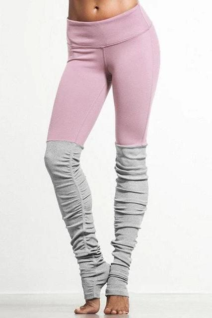 Pink Patchwork Yoga Pants Fitness Skinny - WOMEN BOTTOMS - NIGEL MARK