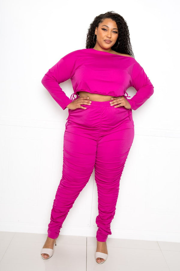 Pink Ruched Leggings Sets - PLUS MATCHING SETS - NIGEL MARK