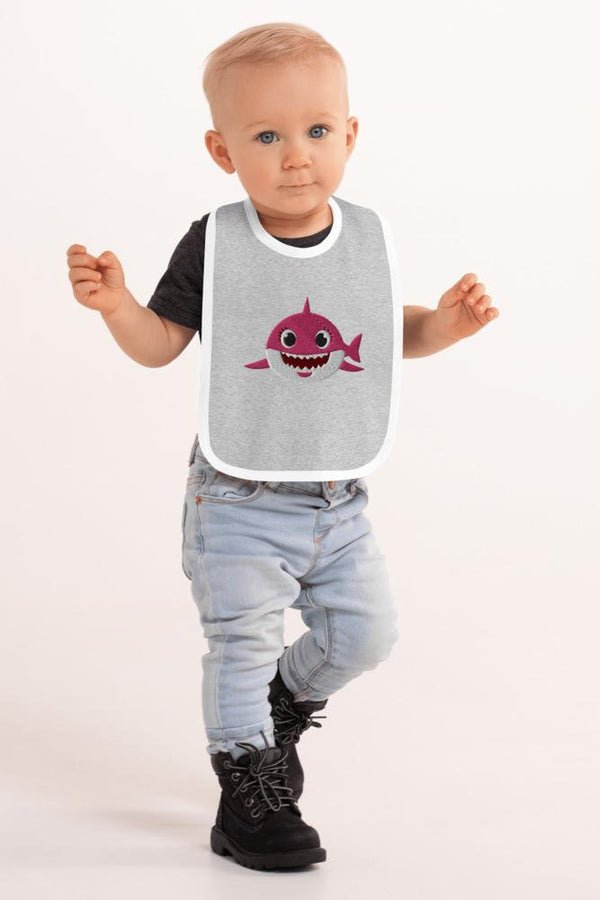 Pink Shark Embroidered Bib - NM BRANDED - NIGEL MARK