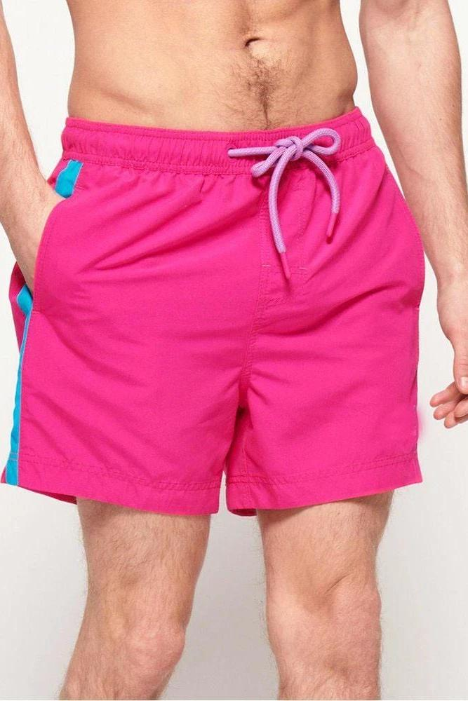 Pink Stripe Swim Shorts - MEN SHORTS - NIGEL MARK