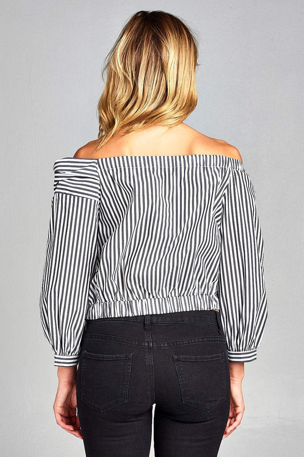 Pinstriped off the Shoulder Crop Top - Tops & Blouses - NIGEL MARK
