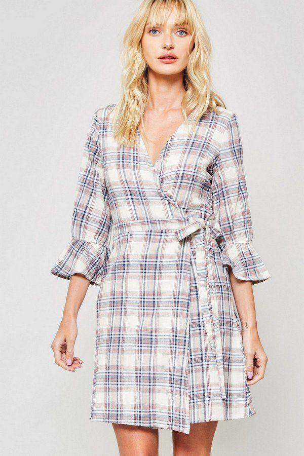 plaid woven navy dress