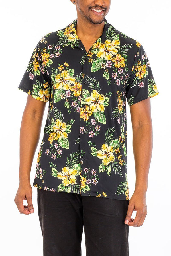 man wearing floral black short sleeve button down shirt