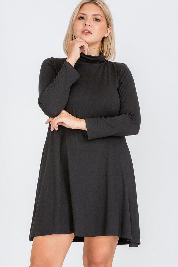 Plus Black Flare Dress - DRESSES - NIGEL MARK