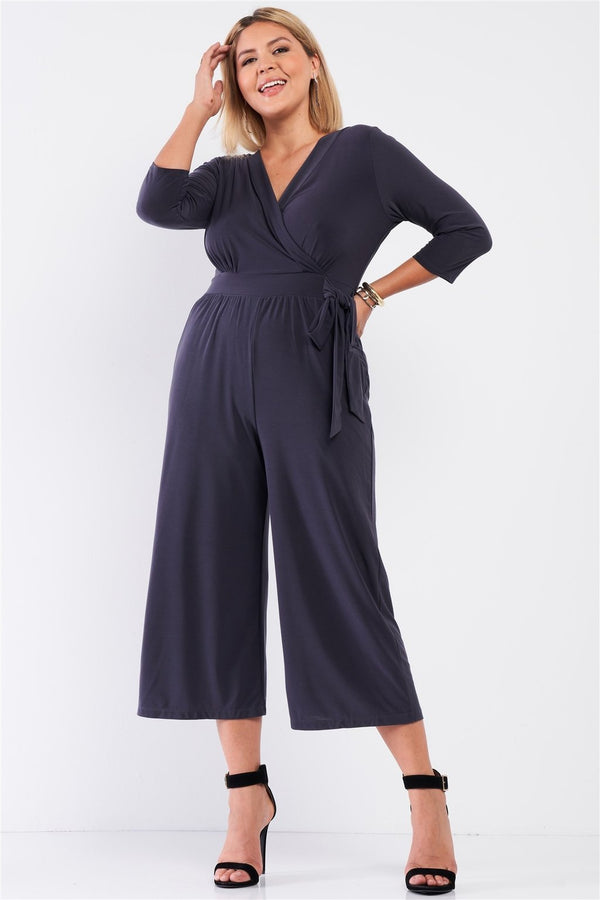 Plus Dark Grey Midi Jumpsuit - PLUS JUMPSUITS & ROMPERS - NIGEL MARK