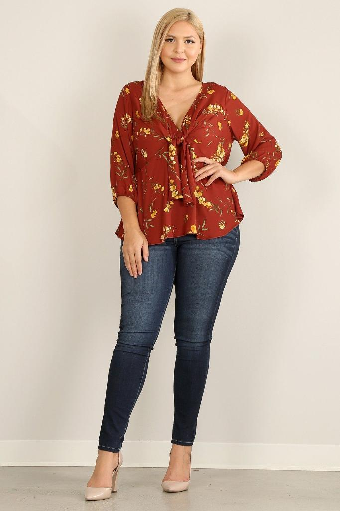 Plus Floral Relaxed Fit Top - PLUS TOPS - NIGEL MARK