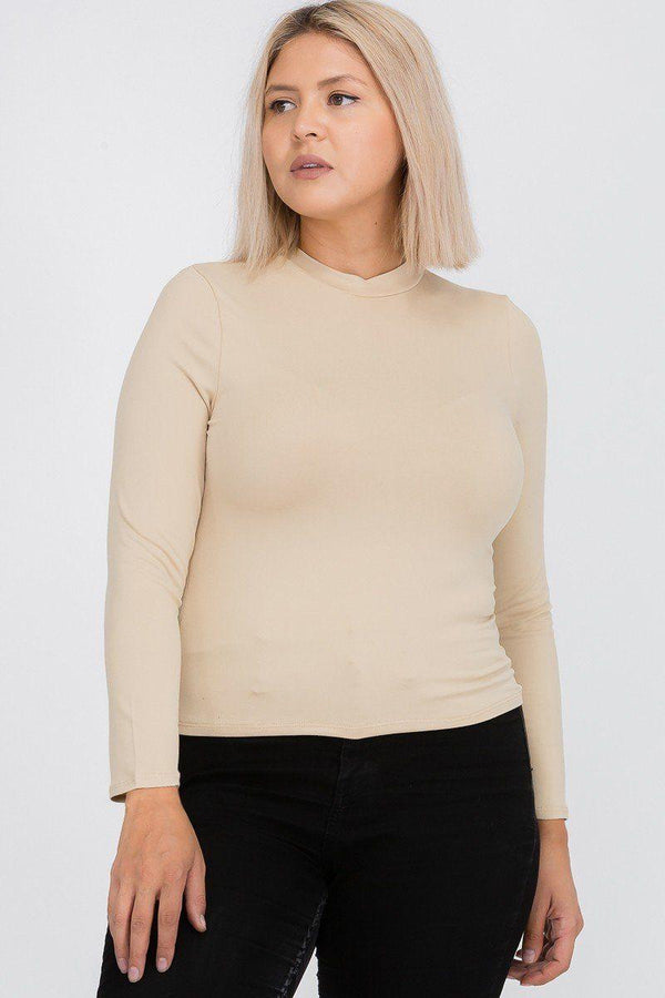 Plus Nude Mock Neck Top - PLUS TOPS - NIGEL MARK