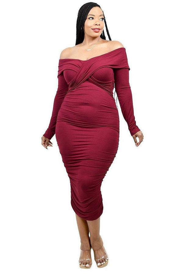 women's burgundy off shoulder dress