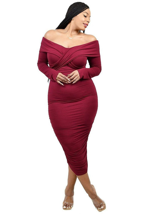 women's plus wrap off shoulder dress