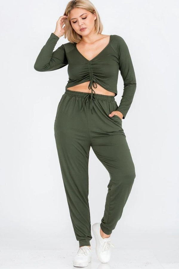 Plus Olive Jogger Pants Set - PLUS MATCHING SETS - NIGEL MARK