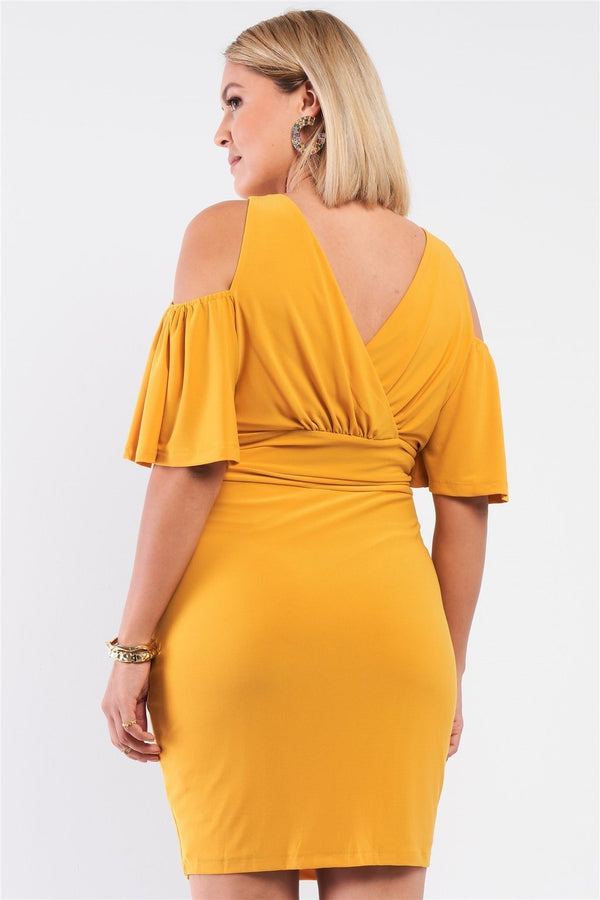 Plus Plunging Wrap Fitted Dress - PLUS DRESSES - NIGEL MARK