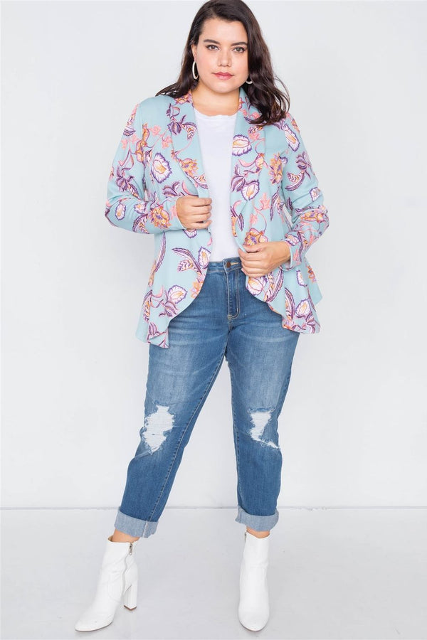 Plus Size Floral Hem Blazer - NIGEL MARK