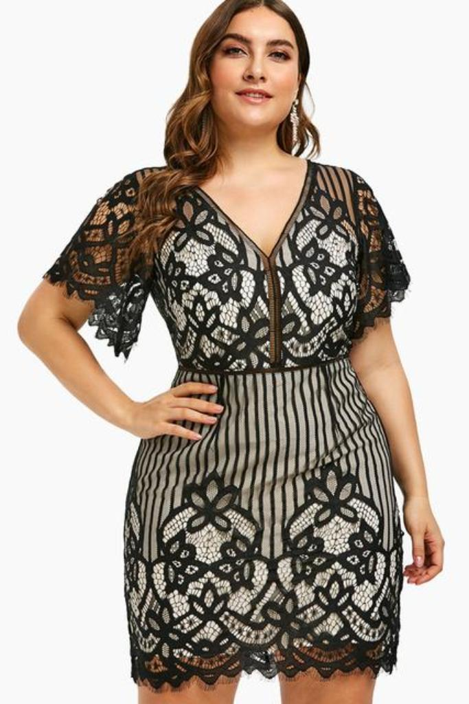 Plus Size Lace Plunge Mini Fitted Dress - PLUS DRESSES - NIGEL MARK