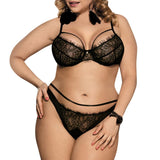 Plus Size Sexy Black Lace Bralette Briefs Set - PLUS LINGERIE - NIGEL MARK