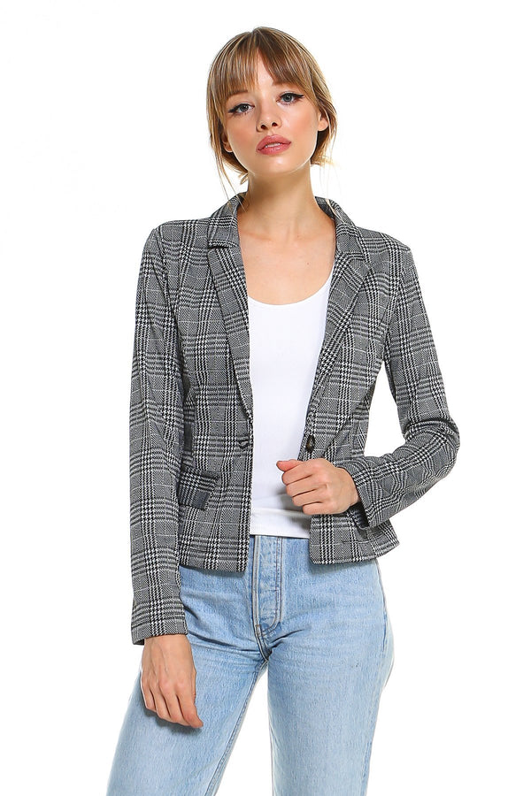 Point Light Plaid Blazer - Women's Clothing - NIGEL MARK
