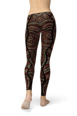 Polka Dots Aboriginal Artwork Leggings - BOTTOMS - NIGEL MARK