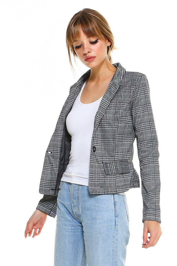 Ponti Plaid Blazer - Women's Clothing - NIGEL MARK