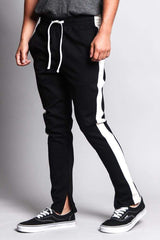 Premium Stretch Slim Fit Striped Track Pants - MEN ACTIVEWEAR - NIGEL MARK
