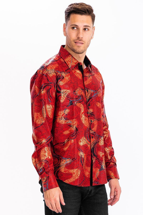 Printed Poly Spandex Button Down Shirt - Men's Clothing - NIGEL MARK