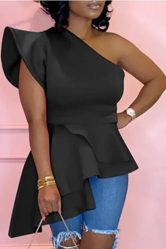 Puff Peplum Top - WOMEN TOPS - NIGEL MARK