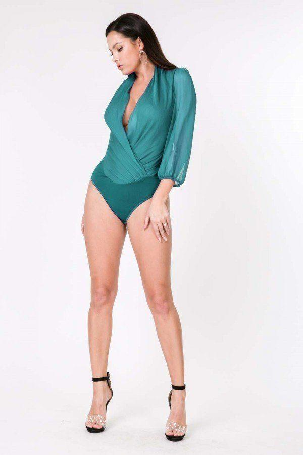 Puff Sleeve Sheer Bodysuit - Aqua - WOMEN TOPS - NIGEL MARK