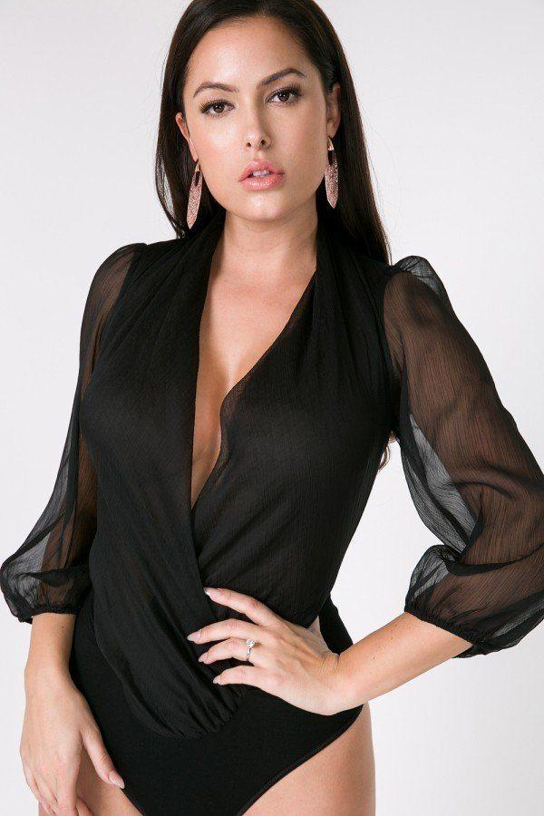 Puff Sleeve Sheer Bodysuit - Black - WOMEN TOPS - NIGEL MARK